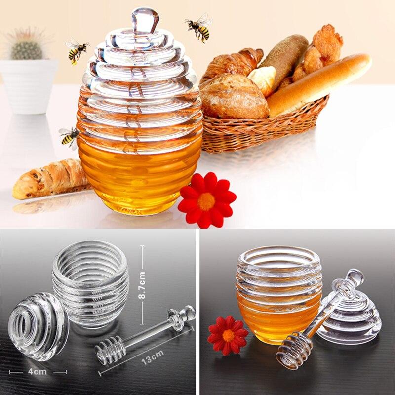 Tarro de miel de colmena acrílica tarro de mermelada de colmena de cristal botella de condimento de especias botella de miel con Dipper y tapa