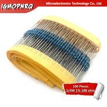 1 lote 100 Uds 1/4W 100ohm 1/4W-100 ohm 1/4W-100R resistencia de película de Metal 0,25 W de alta calidad 1%