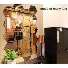 12Pcs 3D Mirror Hexagon Vinyl Removable Wall Sticker Decal Home Decor Art DIY Home Decor Living Room Mirrored Sticker Gold
