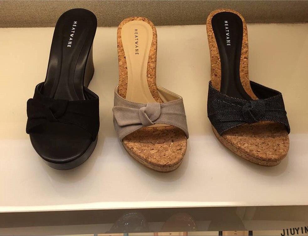 2019 chinelos de moda feminina sapatos de verão alta heel9.5cm rebanho sandálias plataforma senhoras cunhas sandálias flip flops sapatos femininos