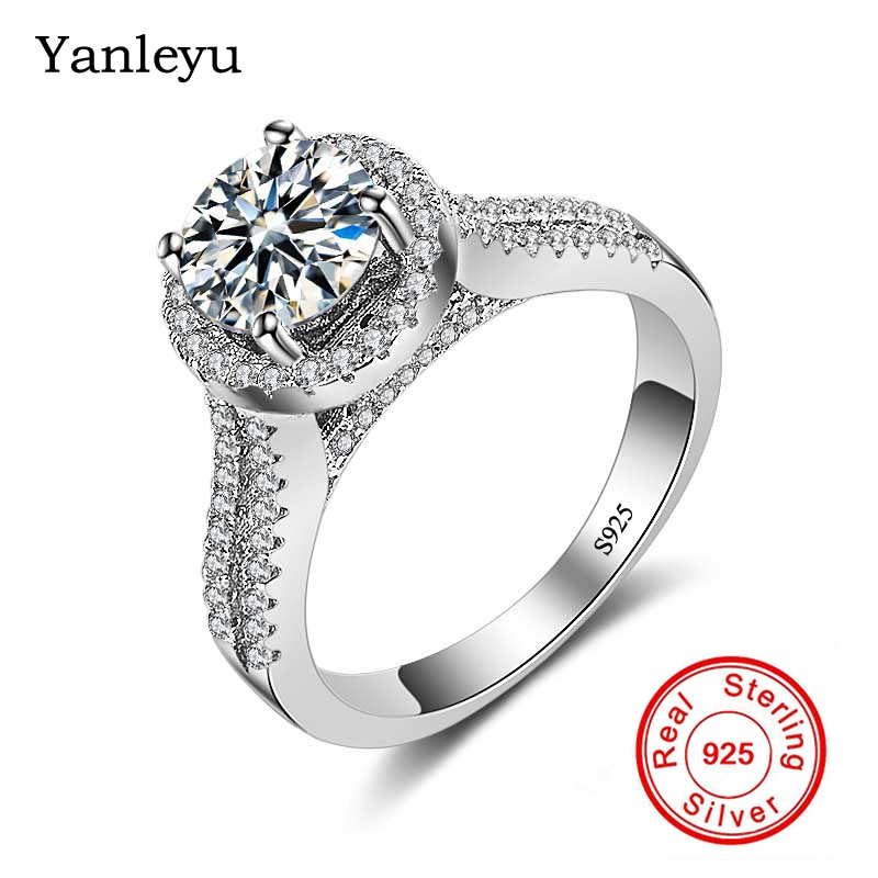 Yanleyu 2ct Round Cubic Zirconia Engagement Promise Ring Genuine 925 Sterling Silver Wedding Rings for Women Fine Jewelry PR210 colorfish new unique design three stone wedding ring round cut sona 925 sterling silver for women engagement ring lovers promise
