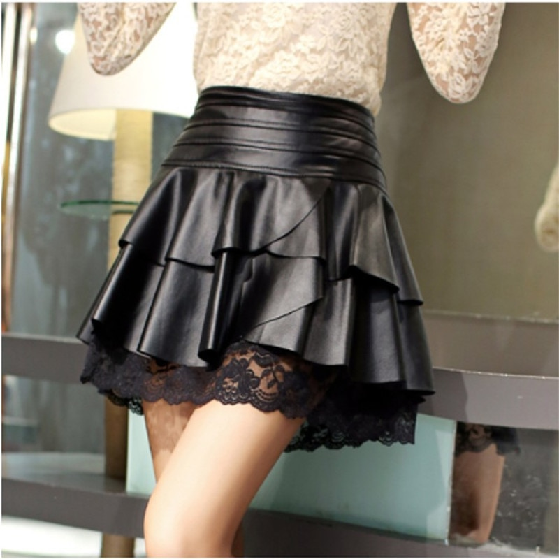 Kobiety Sexy plisowana spódnica wysokiej talii czarne PU skórzane spódnice Vintage krótki Mini spódnica koronkowa szyta odzież damska Saias C1595
