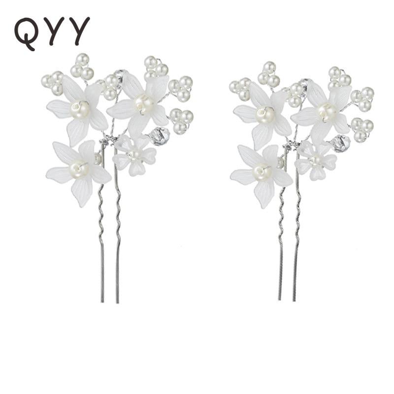 Mais novo 2 pçs/lote flor branca strass acrílico artesanal hairpins casamento enfeites de cabelo jóias para meninas mulheres headpieces