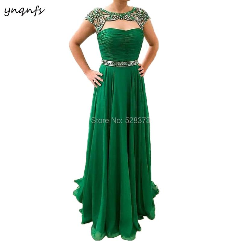 YNQNFS ED214-فستان سهرة أنيق ، أخضر زمردي ، أم العروس ، المشاهير ، الكريستال ، ثوب العشاء ، ملابس السهرة ، 2019