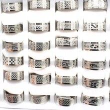 20 pièces/lot mélange Style Vintage en acier inoxydable anneaux en gros hommes bijoux bohème déclaration anneaux en gros largeur 8mm