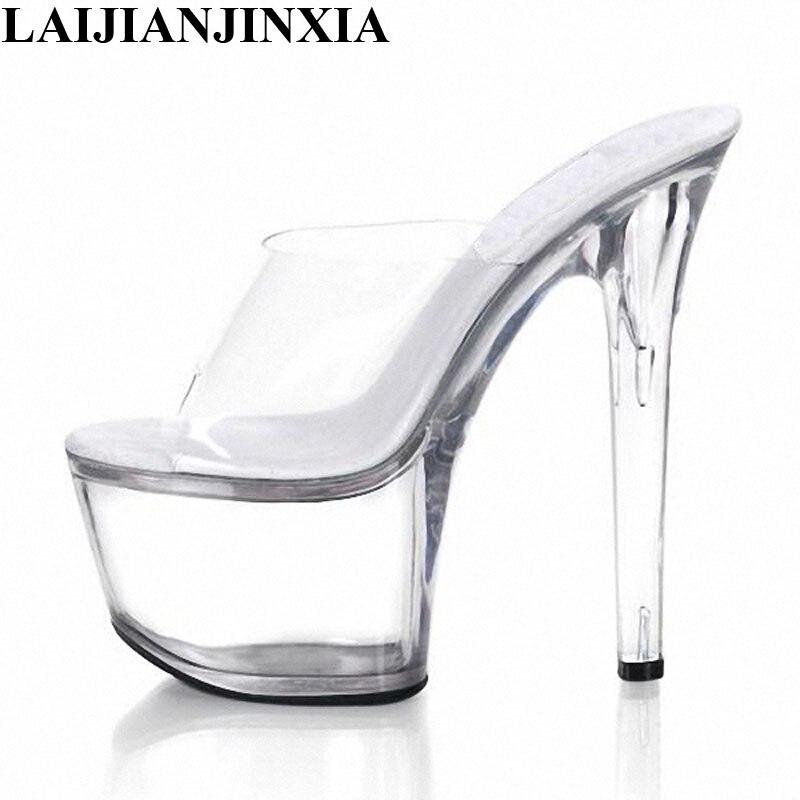 LAIJIANJINXIA, tacones altos, zapatos sexis de baile en barra, zapatos transparentes de tacón alto de baile, zapatos de fiesta de tacón de aguja de plataforma de 17cm