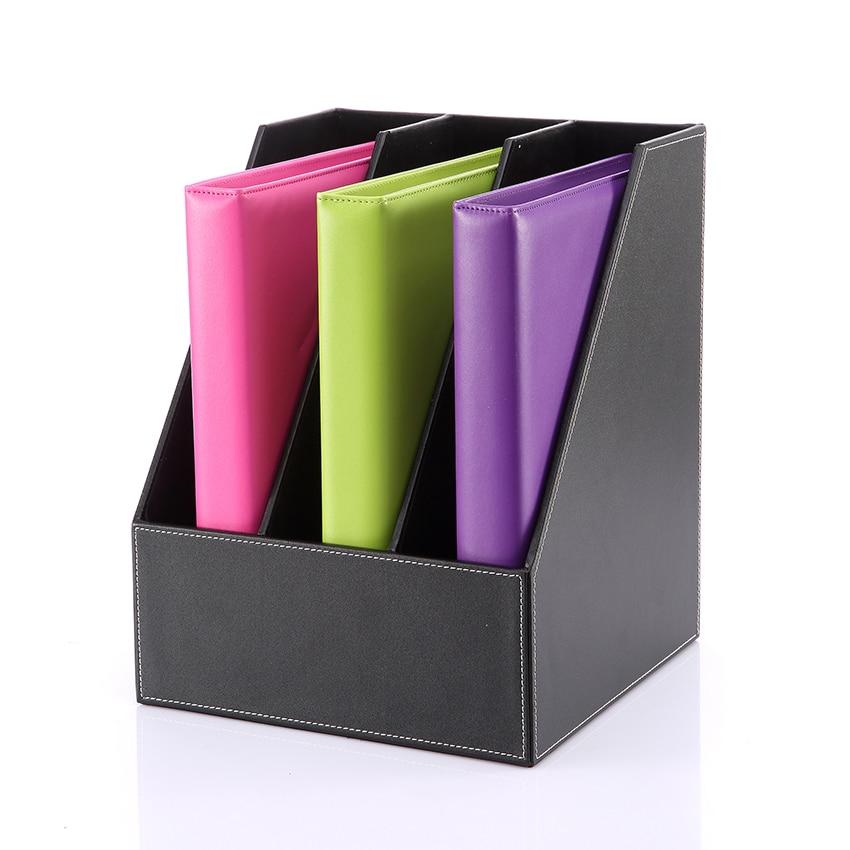 حامل ملفات مكتب خشبي من جلد البولي يوريثان ، 3 مقصورات ، صندوق مستندات ، ثقب خنزير ، منظم مجلة