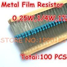 100pcs/lot 330K ohm 1% 1/4W 330K Metal Film Resistor 330K ohm 0.25W 1% ROHS