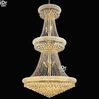 gold Chandeliers European minimalist bedroom lamp upscale hotel lobby corridor custom crystal lamp D90cm x H168cm