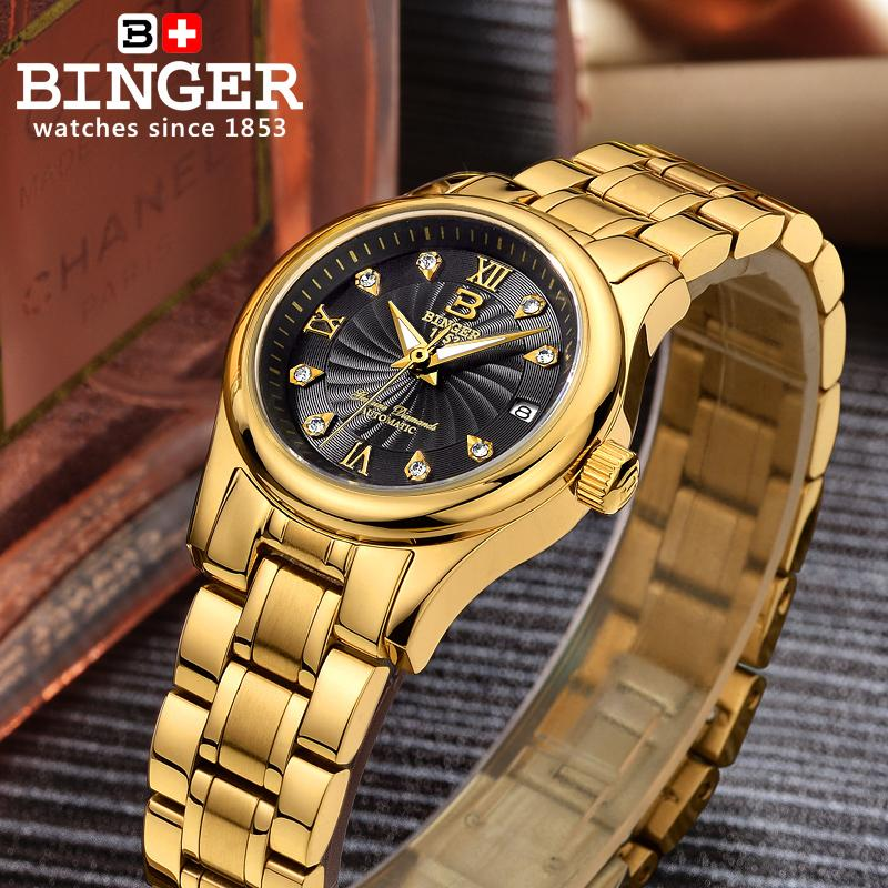 Switzerland BINGER Women's watches luxury18K gold Mechanical Wristwatches full stainless steel Waterproof Wristwatches B-603L-7 enlarge