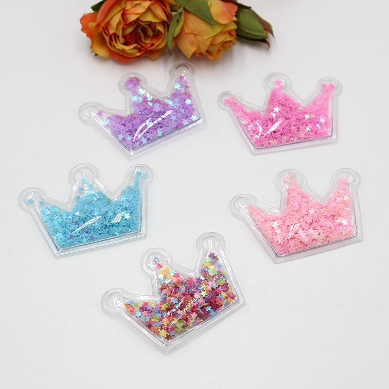 5 unids/lote 40-55mm color de la mezcla transparente PVC corona con lentejuelas coloridas que fluyen apliques DIY accesorios artesanía hecha a mano Decorati