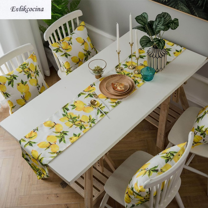 Free Shipping Lemons Table Runner And Mats Decor Caminho De Mesa Hogar Tafelloper For Party Cotton Masa Kosucu Tisch Laufer
