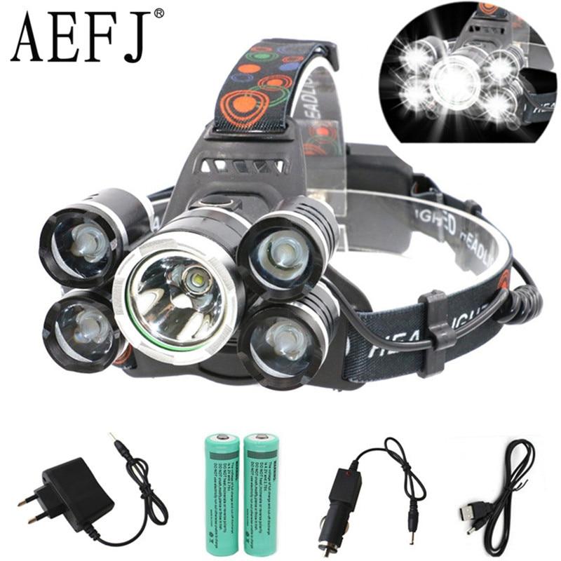 AEFJ 5000LM 5*LED T6+2R5 LED Headlamp Headlight Head Lamp lighting Light Flashlight Torch Lantern Fishing