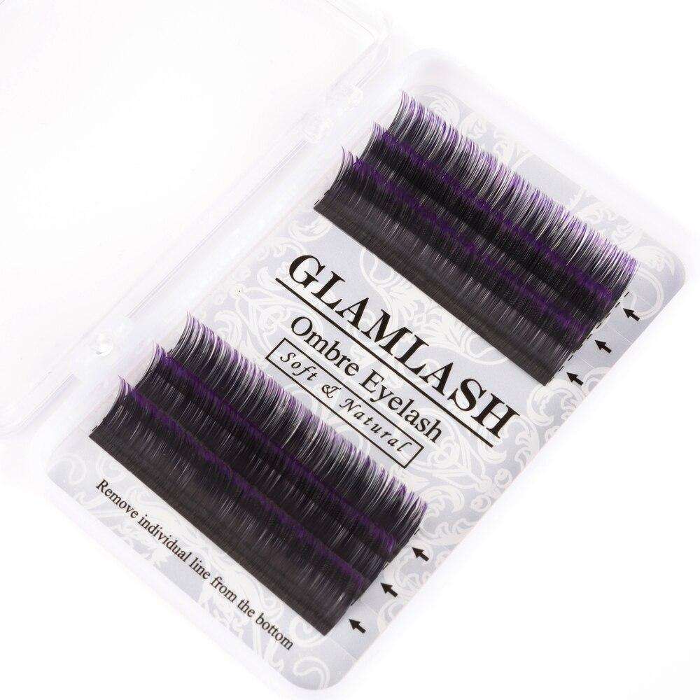 GLAMLASH 8-13mm C D rizo pestañas postizas gradiente azul púrpura pestañas individuales de colores extensiones de pestañas postizas