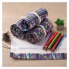 12/24/36/48/72/108 Roll School Pencil Case Canvas  Pencil Case Makeup Brush Pen Pouch Wrap Roll Pain