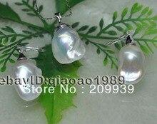 huij 002122 AA++ Natural 13*24mm Baroque pearl set 925 silver