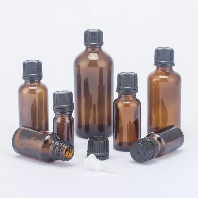 10 unids/lote 100ml 50m 30ml 20ml 15ml 10ml 5ml botellas de vidrio de aceite esencial de color ámbar grueso con tapa negra tarros contenedores de vidrio botellas