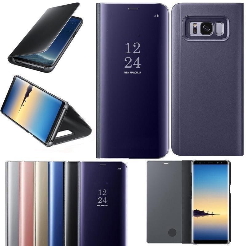 Claro espejo inteligente funda para Samsung Galaxy J3 J5 J7 A3 A5 A7 J4 J6 A8 2018 de 2017 de cuero S6 S7 borde S8 S9 Plus