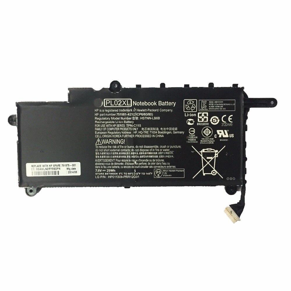 3400mAh para a bateria Do Laptop HP PL02XL HSTNN-LB6B TPN-C115 751681 421 21CP6 60 80 PAVILION 11-N X360 SERIES