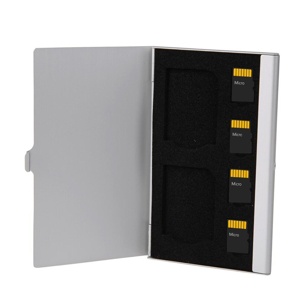 Caja de almacenamiento de aluminio portátil de 6 ranuras para tarjetas Micro SD SDTF funda para tarjeta de memoria Protector 9,35*6,05*0,5 cm