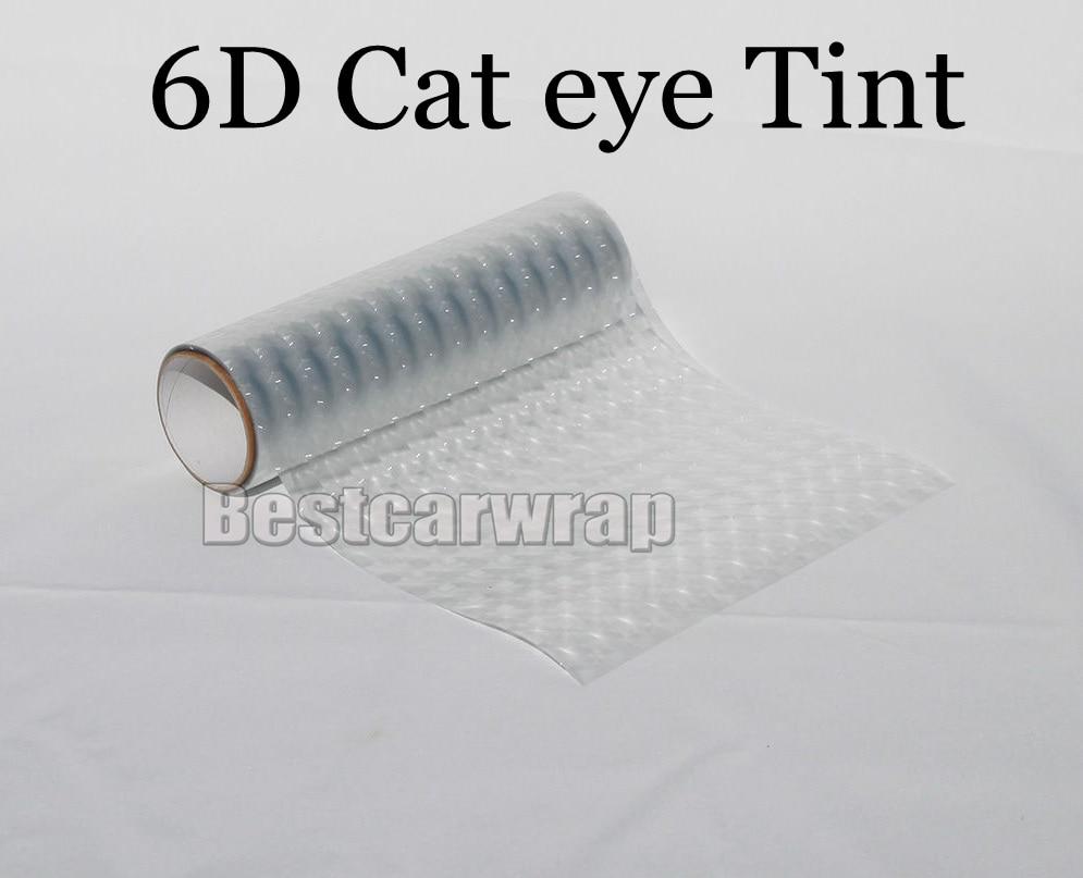 1 rollo transparente 6D ojo de gato faro tinte película antiniebla/luz trasera/motocicleta luz trasera tamaño de la hoja de tintado 0,3x1 0 m/rollo