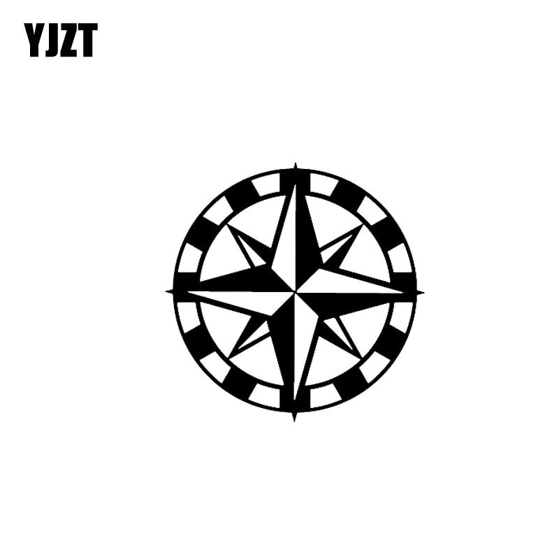 Yjzt 15.2cm * 15.2cm bússola náutica vinil decalque etiqueta do carro prata preta C10-01154