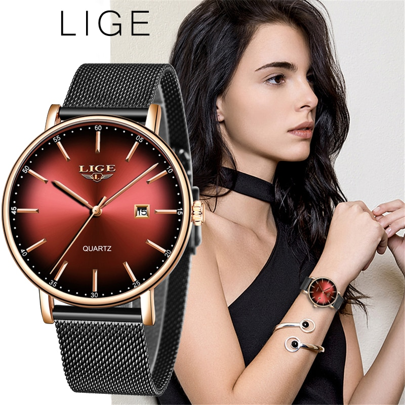 LIGE Fashion Women Watch Top Brand Luxury Ladies Mesh Belt Ultra-thin Watch Stainless Steel Waterpro