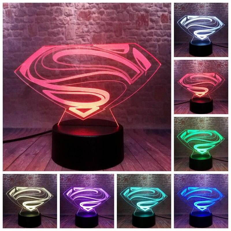 DC Logo Superman Figure Model 3D Illusion LED Lamp Colourful Change Desk Nightlight Super Heros Super Man Bedge Figurines Toys