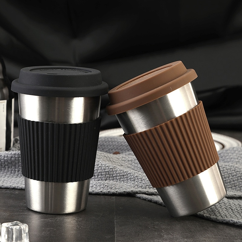 Taza de café de viaje de 500 Ml creativa con tapa de silicona tazas de acero inoxidable y tazas de té + plata