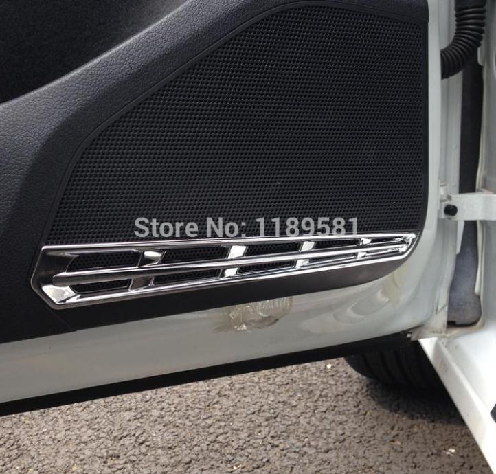 Para vw golf 7 mk7 2014 2015 2016 abs chrome dentro porta interior alto-falante em torno da capa guarnição
