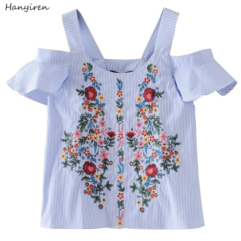 Hanyiren fora shouder floral bordado listrado camisas doce babados manga curta blusa senhoras casual marca topos blusas