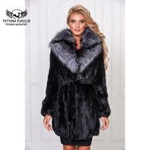 Tatyana Furclub luxueux manteau de fourrure de vison peau entière avec col en fourrure de renard argenté femmes manteaux hiver veste de fourrure naturelle Parkas noirs