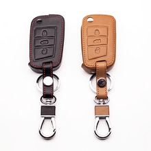 100% leather car key caseKeyboard cover for Volkswagen Golf Case 7 GTI MK7 POLO For Skoda Octavia A7