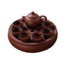 Service chinois 8PCSTea thé noir puer et oolong ltea   Offres spéciales, théière yixing théière en argile, belle et facile à main