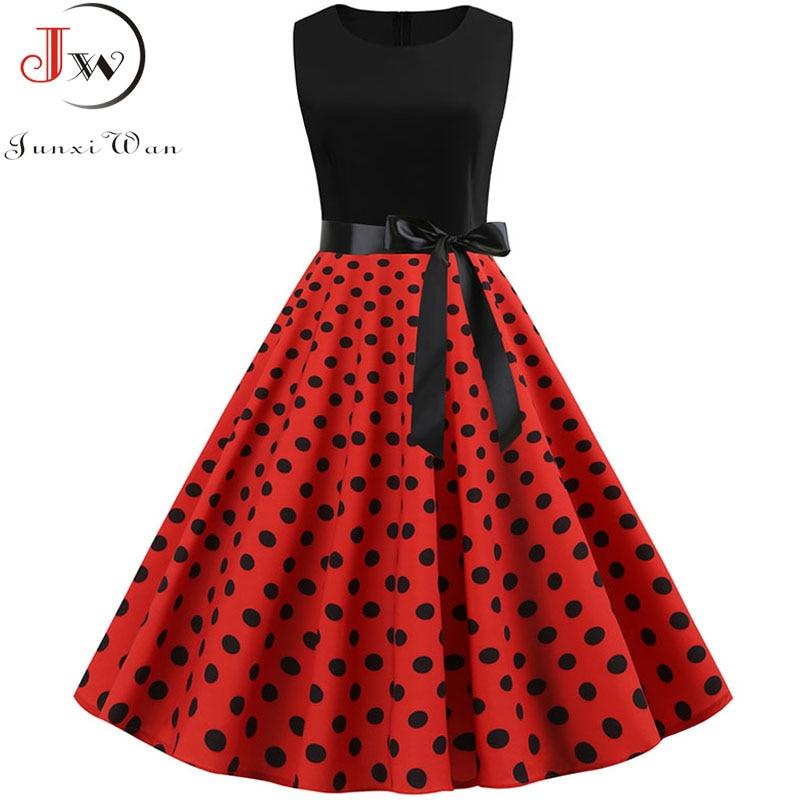 Schwarz Polka Dot Party Kleid Frauen 2019 Sommer Rot Pin Up Rockabilly Kleid robe femme 50s 60s Elegante vintage Kleid Plus Größe