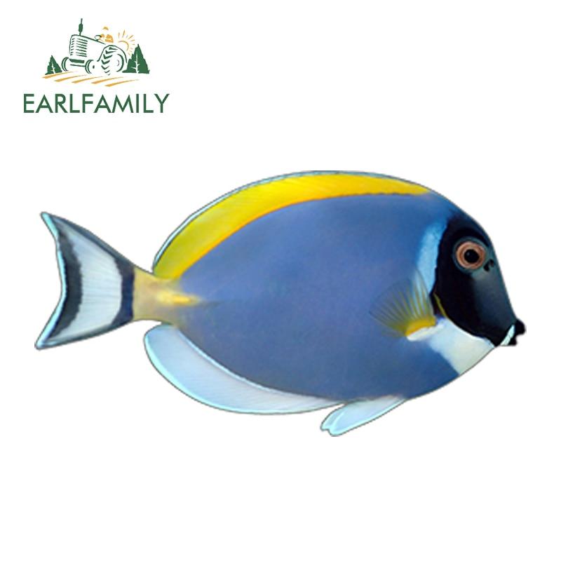 EARLFAMILY 13cm x 6.8cm Car Styling Powder Blue Surgeon Fish Funny Decal Car Sticker Waterproof Bumper Doors Windows Accessories