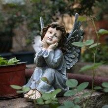 Figurine elfe de jardin créatif en résine   43cm, Statue de fée de la cour, décorations extérieures du jardin à la maison, Sculptures