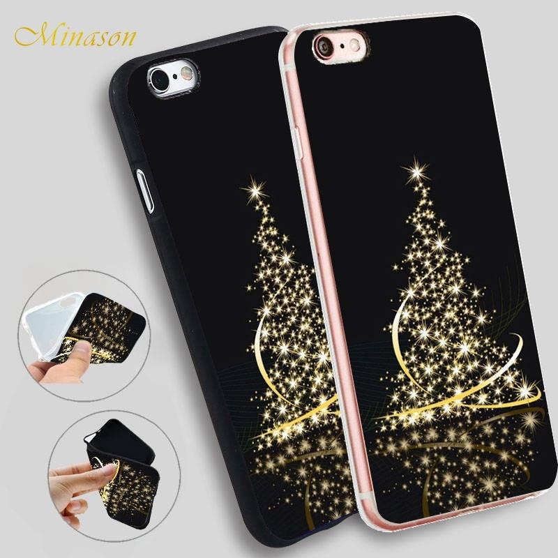 Funda de silicona suave con luces de árbol de Navidad de Minason para iPhone 5S XR XS Max 5 SE X 6 6S 7 8 Plus