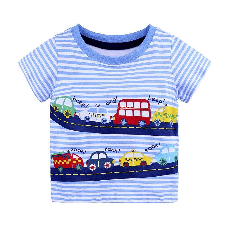 От 1 до 6 лет, повседневный Модный хлопковый пуловер с коротким рукавом и круглым вырезом для маленьких мальчиков, футболка с принтом с героями мультфильмов