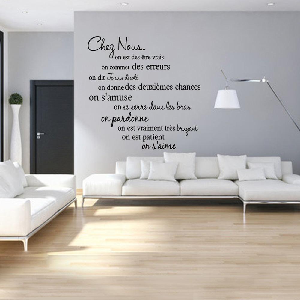 1 ud. De frases de lema francés de PVC autoadhesivo adhesivo para pared dormitorio adhesivo para salón decoración del hogar fácil de usar