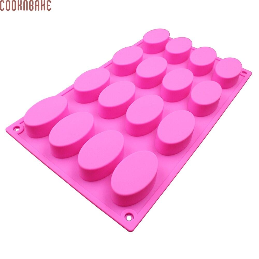COOKNBAKE DIY molde ovalado de silicona para jabón hecho a mano gelatina de pudín de chocolate cubo de hielo pastel pastelería herramienta para hornear