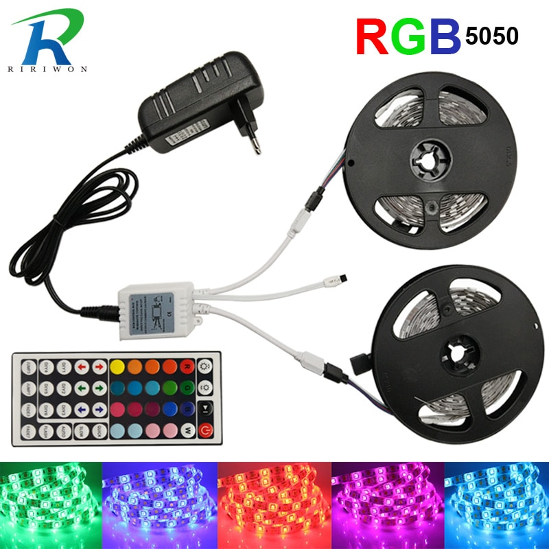 Tira LED RGB, cinta impermeable RGB, luz LED SMD5050, 5 M, 10 M, rayas LED flexibles DC12V, Kit de juegos completos de cinta LED RGB