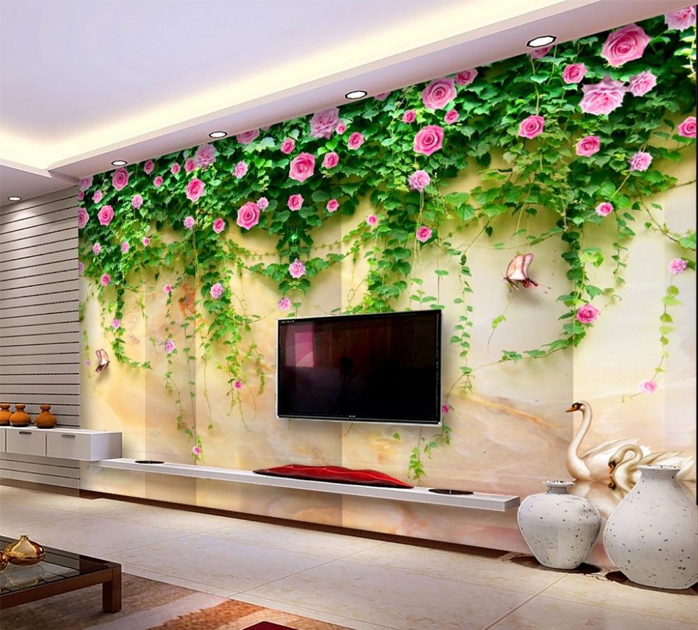 Papel de pared 3D tamaño Ang personalizado delicado Rosa Cisne lago mármol TV Fondo pintura de pared Wallpap er
