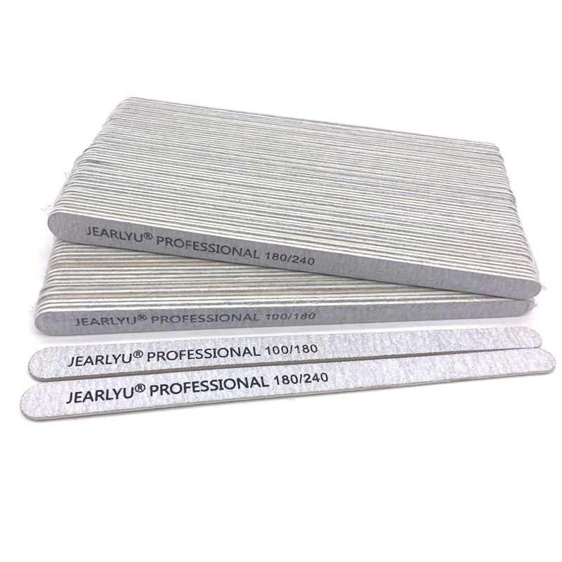 10 pcs Wooden Nail File 100/180 180/240 Grey Sandpaper Buffer Block Professional Nail Files Pedicure