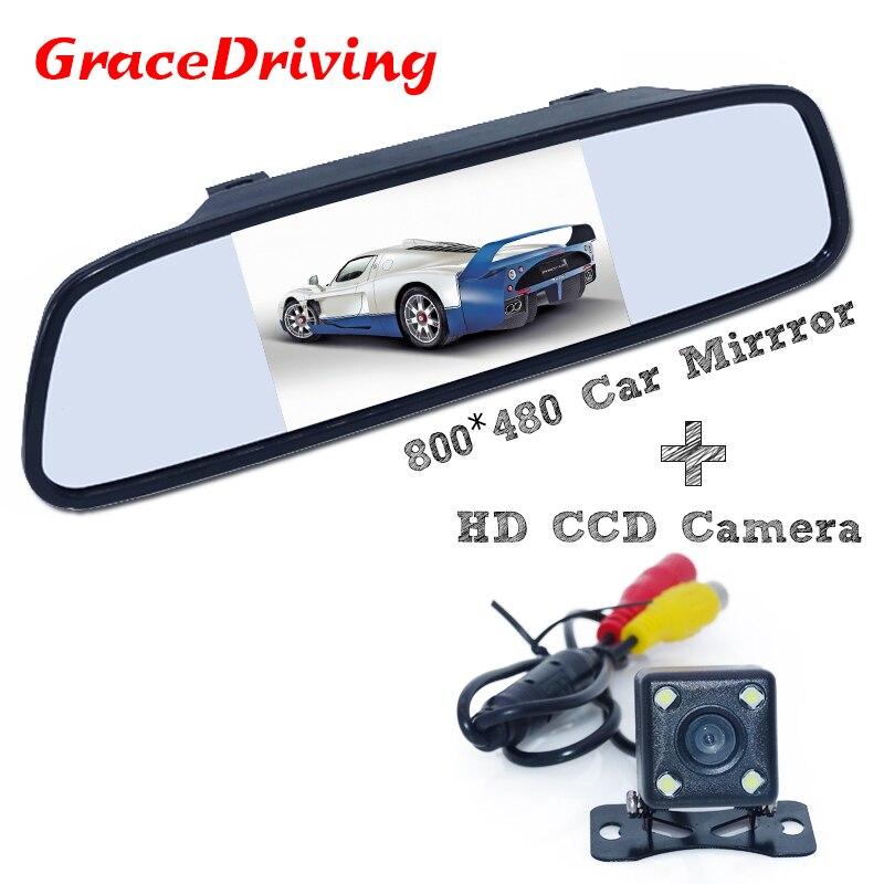 """O mais novo da chegada do carro produtos de estacionamento kit inclui 4.3 """"parte traseira do carro espelho monitor + 170 amplo ângulo de visão traseira DO CARRO vista da câmera para todos os carros"""