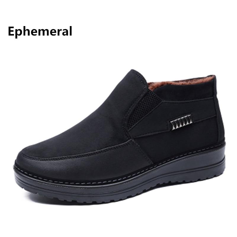Man Winter Schoenen Laarzen Hoge Top Bont Mocassins Pluche Solid Mannen Luxe Merk Casual Plus Size 50 38 49 48 zwarte Koffie Loafers
