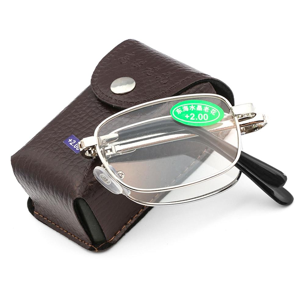 + 1,0 ~ 4,0 dioptrías nuevas gafas de lectura para personas mayores con caja Bifocal cuidado de la visión ultraligero gafas de aumento plegables Unisex sin montura