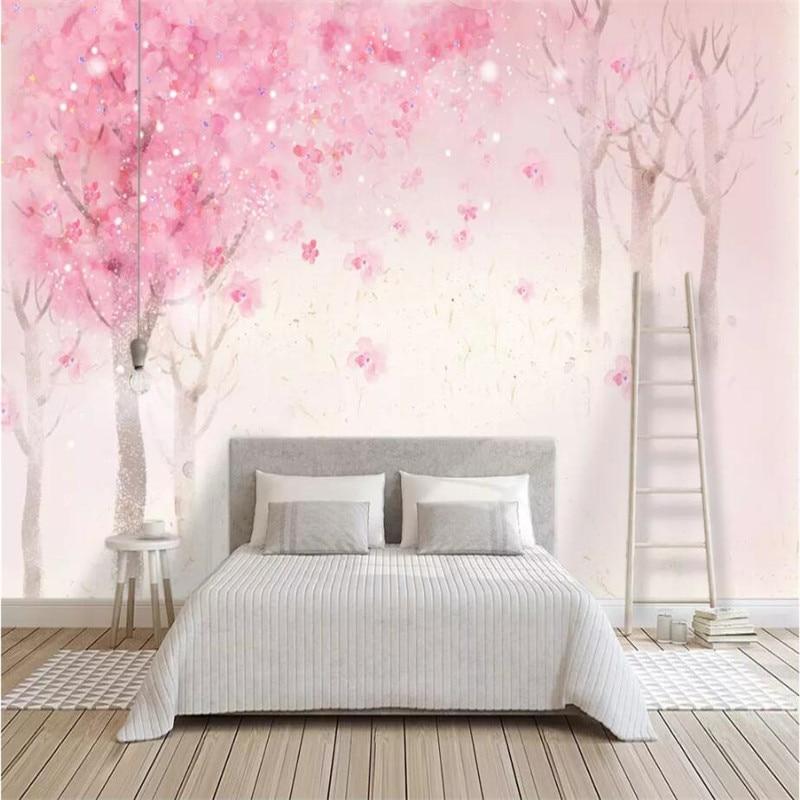 Fondo de flores de cerezo romántico nórdico pintado a mano, Producción Profesional, papel tapiz, mural, póster personalizado, pared de fotos