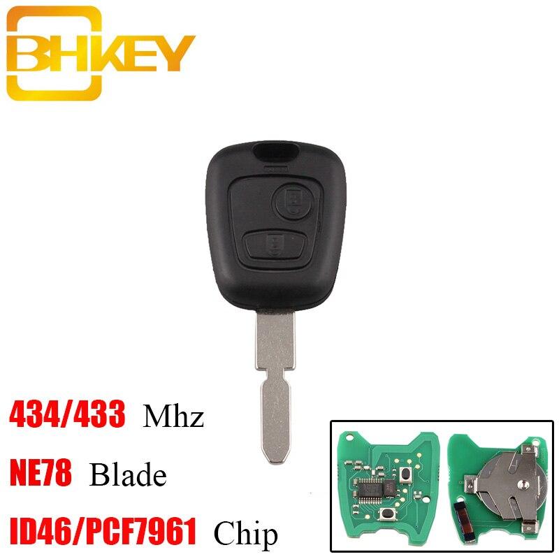 BHKEY 2 Tasten 434 Mhz Remote key Transponder Chip ID46/PCF7961 für Peugeot 406 407 408 607 Uncut NE78 klinge Original schlüssel