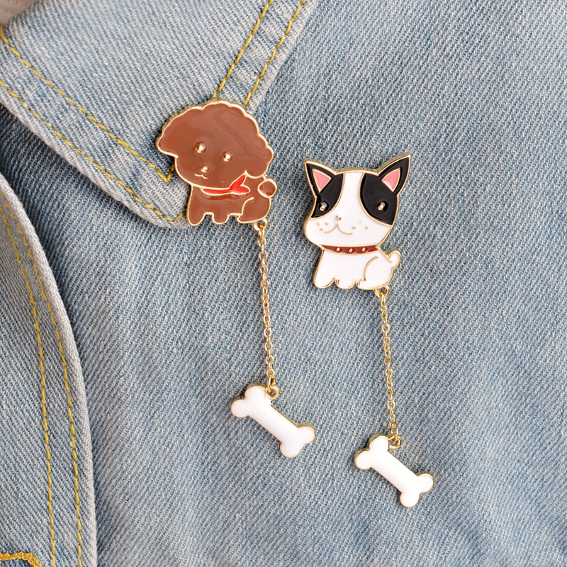¡Bow-Wow! Broche de Bulldog Francés Poodle para mujeres, hombres, perro mascota dibujos animados, Chaquetas vaqueras de hueso, Collar, insignia, Pins, cadena, joyería Animal